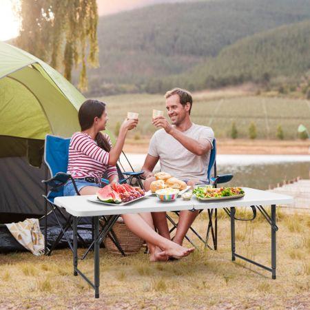 Costway Campingtisch Klapptisch Koffertisch  Gartentisch mit 3 Fach einstellbarer Höhe