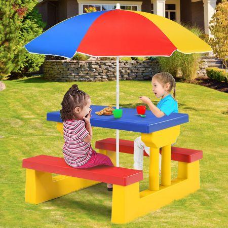 Costway Kinder Sitzgruppe Kindertisch Picknickbank mit Sonnenschirm