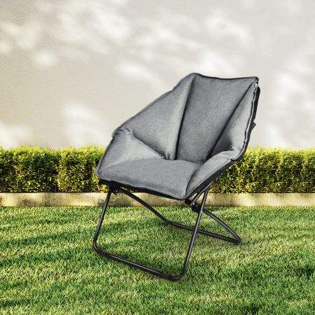Costway Moon Chair Gepolsterte Klappstuhl Campingstuhl Mondstuhl faltbar Klappsessel 85 x 78 x 87 cm Grau