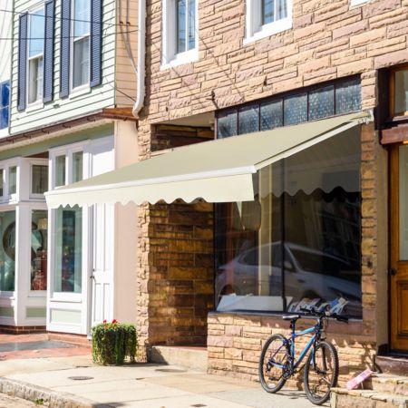 Costway Einziehbare Markise Aluminium Terrassen Sonnenschutz Balkonmarkise Sonnenschutz 2,5 x 2 m Beige