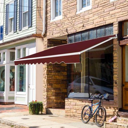 Costway Einziehbare Markise Balkonmarkise Sonnenschutz Klemmmarkise für Balkon und Veranda 2,5 x 2 m Wein