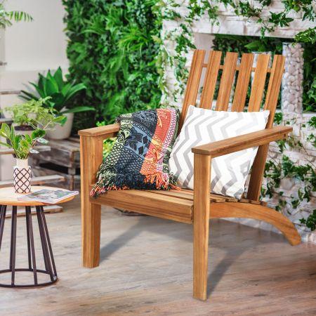 Costway Outdoor Adirondack-Holzstuhl Klassischer Adirondack-Stuhl mit ergonomischem Design 69 x 73  x 85 cm Natur