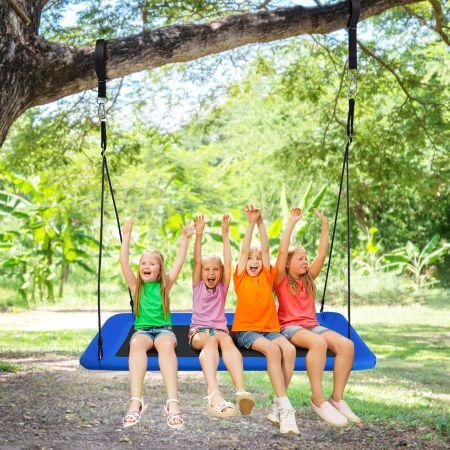 Costway Baumschaukel Schaukel für Kinder Indoor & Outdoor-Baumschaukel mit verstellbaren Seilen Blau