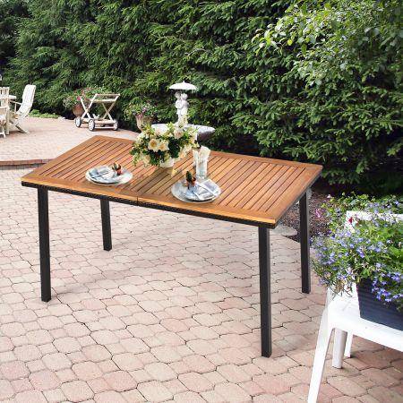 Costway Gartentisch Esstisch mit Schirmloch Holztisch Terrassentisch Akazienholz 140 x 75 x 76 cm Natur