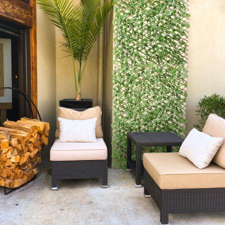 Costway Künstliches Pflanzenwand Hecke Efeublättern Sichtschutz Heckenpflanze Windschutz für Garten Dekor 125 x 28 cm