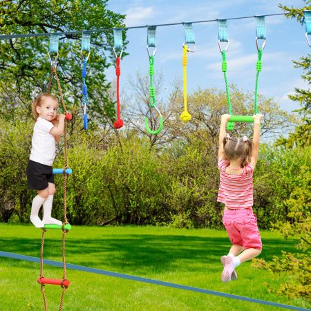 Costway Ninja-Warrior-Set für Kinder 15M Kinder Slackline hängende 9 Hindernisse verstellbaren Outdoor Bunt
