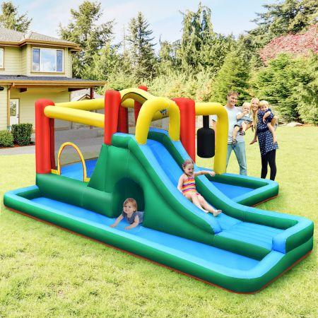 Costway Kinder-Hüpfburg mit Rutsche Aufblasbare Wasserrutsche Spielpool 470 x 370 x 190 cm Bunt