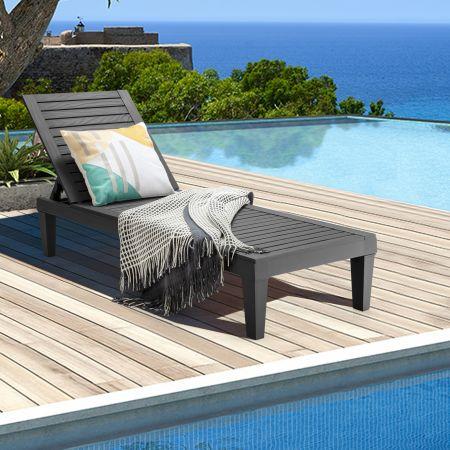 Costway Terrassenliege Outdoor-Liegestuhl mit verstellbarer Rückenlehne 190 x 57.5 x 29cm Schwarz