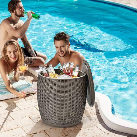 Costway Cooler 45L Terrassentisch Eiskühler mit Deckel 3 in 1 Beistelltisch Ø40 x 43 cm Braun
