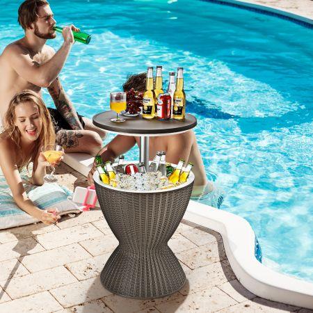 Costway Kühlbox Hocker Gartentisch terrassentisch höhenverstellbar Eiskühler Getränkekühler Gartentisch Braun