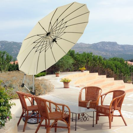 Costway 3m Terrassenschirm Sonnenschirm Ampelschirm Freischwingender Schirm Beige