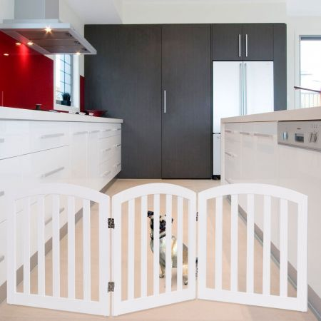 Costway 3-teiliges Absperrgitter klappbarer Kindergitter Hunde Schutzgitter Weiß Holz
