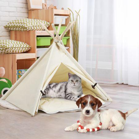 Costway Tipi für Haustiere Zelt mit dickem und rutschfestem Kissen tragbares Haustierhaus Hundezelt Katzenzelt Beige