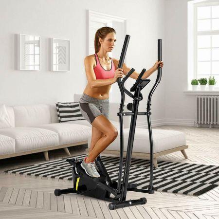 Costway Crosstrainer Magnetischer Ellipsentrainer Heimtrainer mit digitaler Monitoranzeige bis 100 kg Schwarz