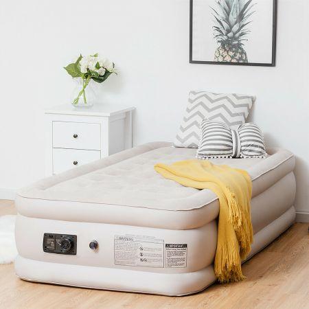 Costway Luftbett elektrischer Pumpe Luftmatratze selbstaufblasend Gästebett Reisebett Beige 203 x 90 x 46cm