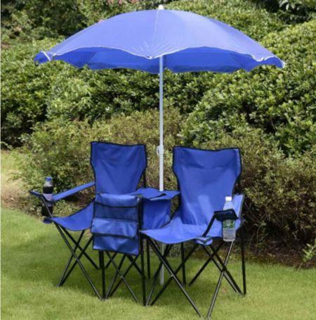 Klappbarer Campingstuhl mit Sonnenschirm für 2 Personen Klappstuhl für Paare Doppel Angelstuhl faltbar mit Getränkehalter Kühltasche Blau