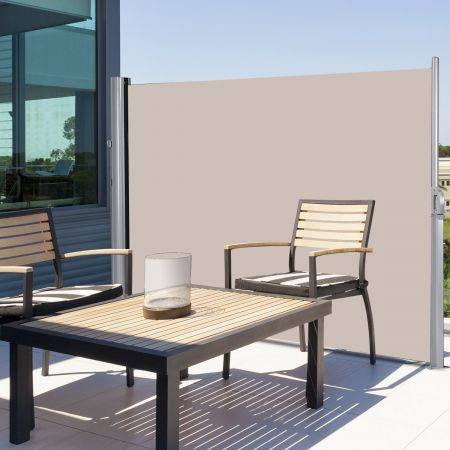 Costway Sonnen- und Windschutz aus Aluminium Ausziehbar faltbar Sichtschutz 300 x 180 cm Beige