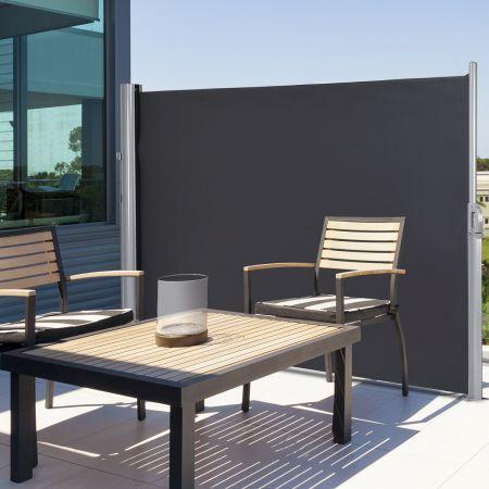 Costway Ausziehbare Seitenmarkise Sonnen- und Windschutz faltbar Sichtschutz Seitenmarkise 300 x 160 cm Grau