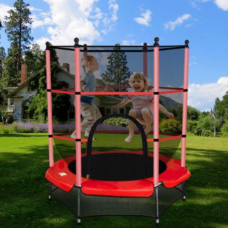 Trampolin rundes Minitrampolin mit Sicherheitsnetz & Polsterung strapazierfähig sicher für Kinder rot Ø140cm