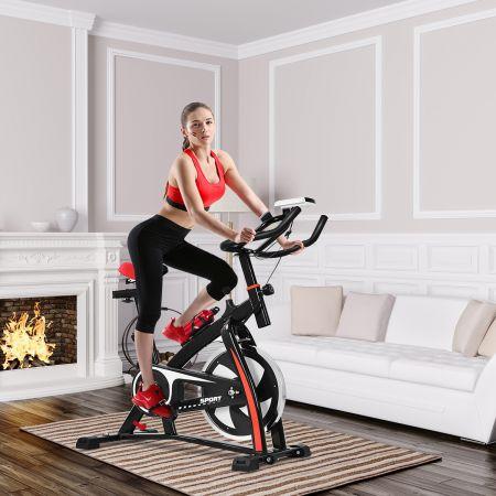 Costway Heimtrainer Trainingsfahrrad 10kg Schwungrad Verstellbarer Fitnessbike Schwarz und Rot