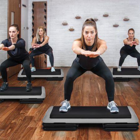 Costway Aerobic Steppbrett Fitness Stepper Stepbench höhenverstellbar Stepper Board Grau