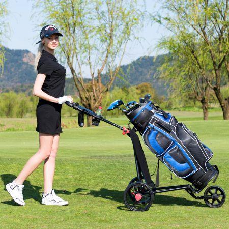 Costway 3-rädriger Golfwagen klappbarer leichter eiserner Golfwagen mit verstellbarem TPR-Griff Metall Golf Push Cart Schwarz