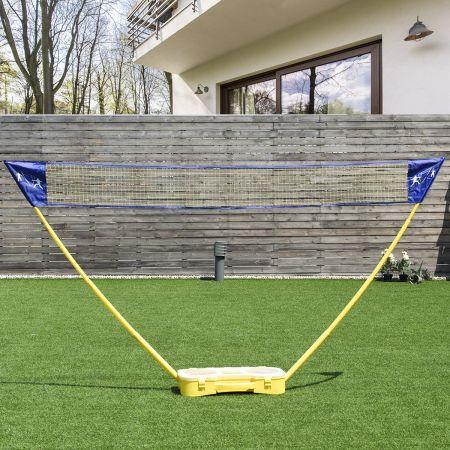 Costway Badminton Netz Set Höhenverstellbares Federballnetz mit Federball und Federballschläger Gelb