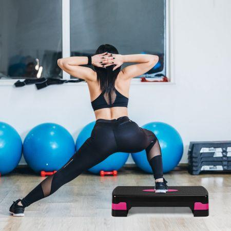 Costway Höhenverstellbarer Aerobic Stepper Fitnesstrainer mit zwei Stufen von 10 cm und 15 cm Fitnesstrainer Schwarz