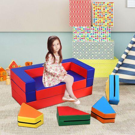 Costway 4 in 1 Spielsofa Vielseitiges Kindersofa Kinder Sitzgruppe