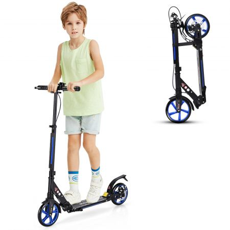 Costway Sport Scooter mit Aluminium Trittbrett Kickscooter Scooter Roller höhenverstellbar Tretroller klappbar Schwarz und Blaue Räder