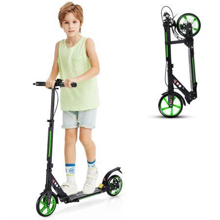 Costway Sport Scooter mit Aluminium Trittbrett Scooter Roller höhenverstellbar Tretroller klappbar Schwarz und grüne Räder