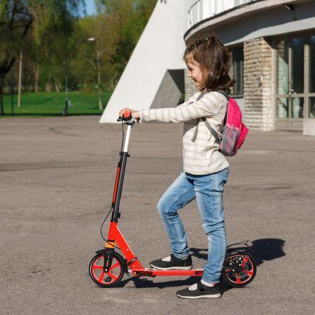 Costway Kickscooter Cityroller Traggurt Scooter Roller höhenverstellbar Tretroller Rot
