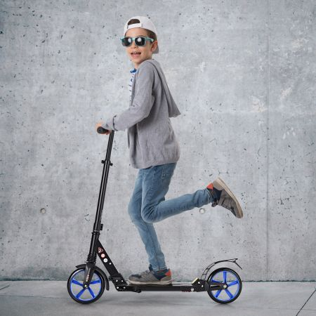 Costway Zusammenklappbarer Trittroller Scooter mit zwei großen Rädern Tretroller 3 Höhen verstellbar Schwarz und blaue Räder