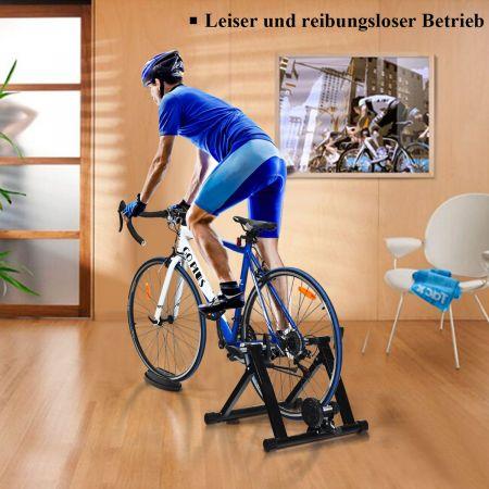 Costway Rollentrainer klappbar Cycletrainer aus Stahl Fahrradtrainer Schnellspannhebel und Double-Locking-System Schwarz