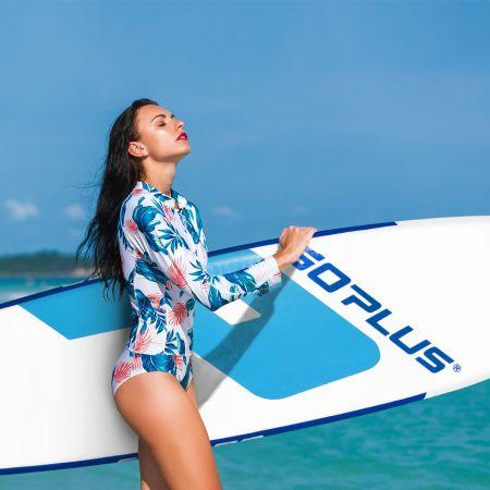Costway Stand Up Paddle Board Aufblasbares SUP Board mit Premium-Zubehör 335 x 76 x 15 cm Blau + Weiß