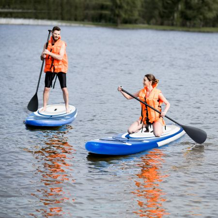 Costway Aufblasbares Stand Up Paddle Board Extra breites rutschfestes Board 305 x 75 x 15 cm Blau + Weiß