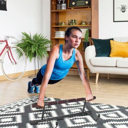 Costway Klimmzugstange für Türrahmen klappbare Fitness-Klimmzugstange fürs Krafttraining beim Heimworkout Schwarz