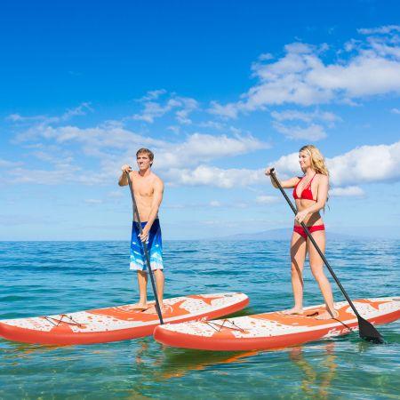 Costway Aufblasbares Paddle Board Stand-Up Surfboard 335 x 76 x 15 cm Hai-Muster Orange + Weiß