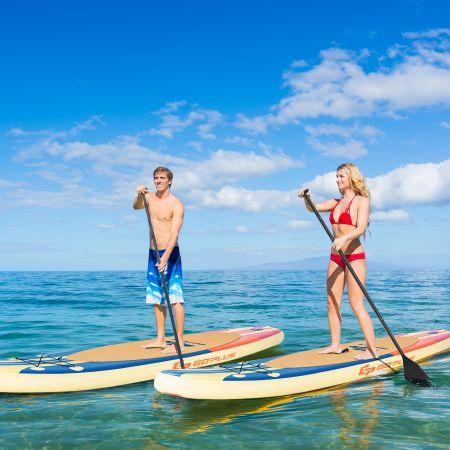 Costway Aufblasbares Paddelbrett Boot Stand-Up Surfboard 335 x 76 x 15 cm Streifen-Muster Bunt