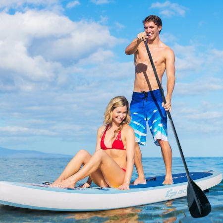 Paddleboard Set Aufblasbares Paddlebrett Surfboard Blau 305 x 76 x 15 cm