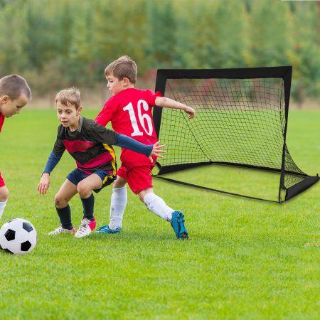 Costway 2er Set Fußballtor klappbar Fußball-Tor mit Montagezubehör und Tragetasche faltbares Fußballnetz 120 x 92 x 92cm Schwarz