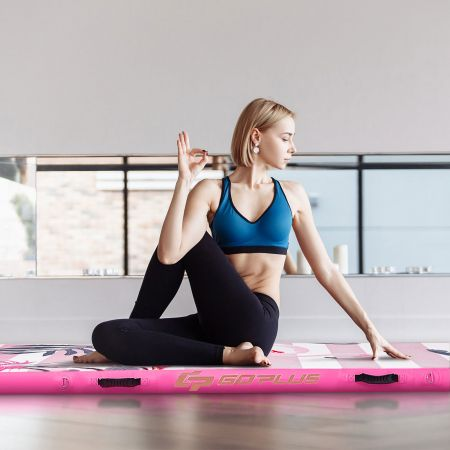Costway Gymnastik-Trainingsmatte aufblasbare Turnmatte Air Track 300 x 100 x 10 cm Rosa