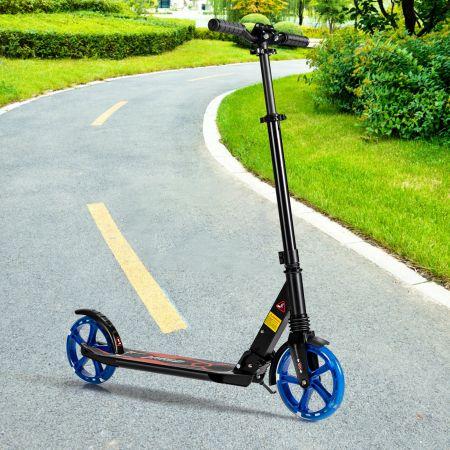Costway Kick-Scooter für Kinder LED-Licht-Scooter Scooter Roller höhenverstellbar 93 x 43 x 91-106 cm Schwarz + Blau