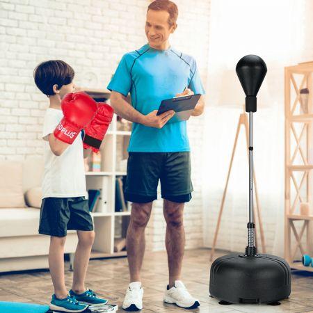 Costway Boxball mit Ständer 4-fach verstellbare Höhe Standboxball mit befüllbarem Ständer Schwarz