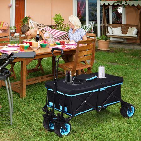 Costway Klappbarer Schiebewagen Einkaufswagen auf Rädern Handwagen 118 x 55 x 74 - 97 cm Schwarz + Blau