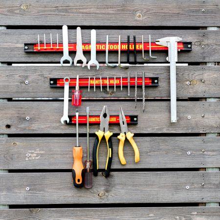 Costway 3er Wand Magnetleiste Set Magnet Werkzeughalter Magnetleisten mit Montagematerial