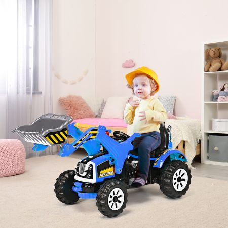 Costway Elektrischer Kinder-Gabelstapler 12V batteriebetriebener Kinder-Bagger mit 2 Geschwindigkeiten Kinder-Auto Blau