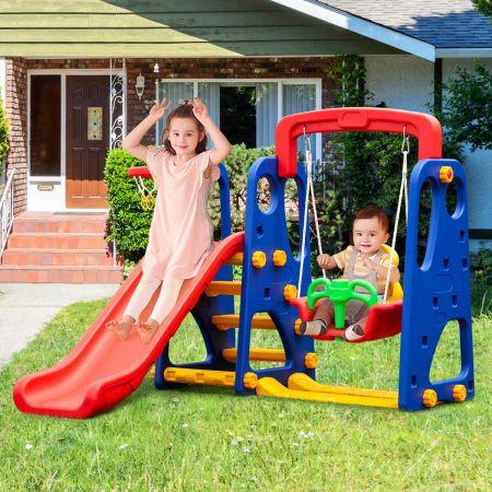 Costway 3 in 1 Kinder Rutschen Kletter Spielset mit Basketballkorb Kletter und Schaukel