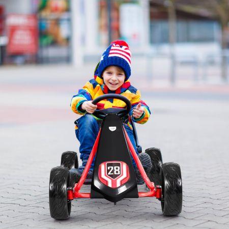 Costway Kinder Gokart Kinder-Kart mit verstellbarem Sitz Kindergefährt 104 x 59 x 62 cm Schwarz