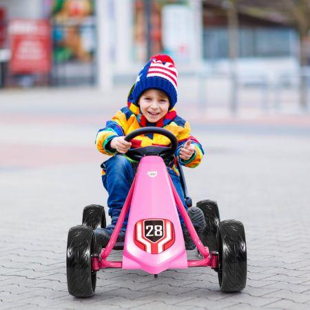 Costway Kinder Gokart Pedalbetriebenes Kindergefährt Kinderkart Tretauto 104 x 59 x 62 cm Rosa
